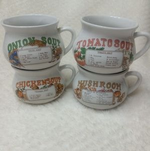 Other - 18oz Soup Bowls Mugs With Recipe- Set Of 4